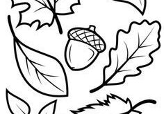 Fall Leaves and Acorn coloring page | Free Printable Coloring Pages