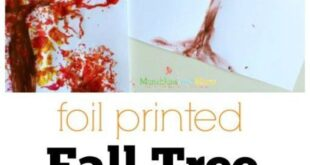 Foil Printed Fall Tree Art - Munchkins and Moms