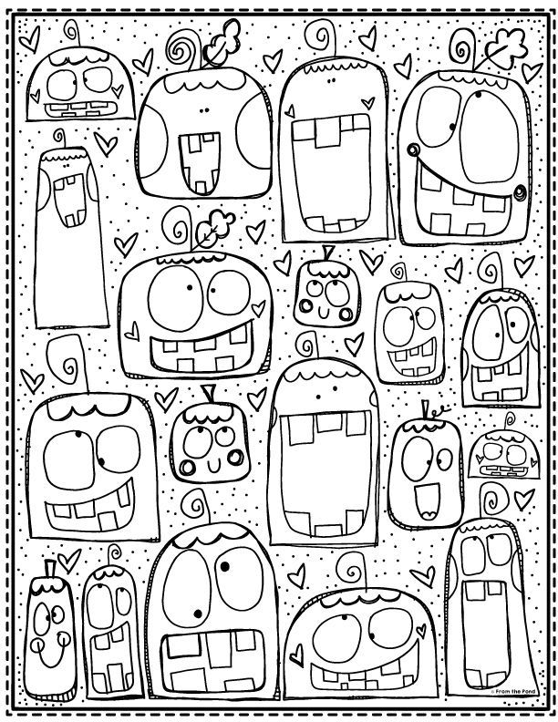 Silly pumpkin coloring page